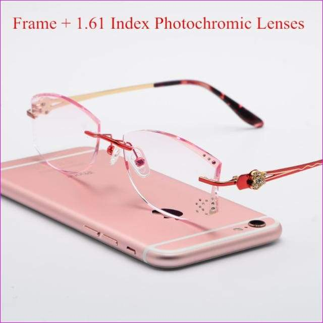 Tinted Colorful Lenses Woman Designed Rimless Prescription Glasses Reading Myopia Use MR-8 Crystal Eyeglasses - Red Photochromic - Reading