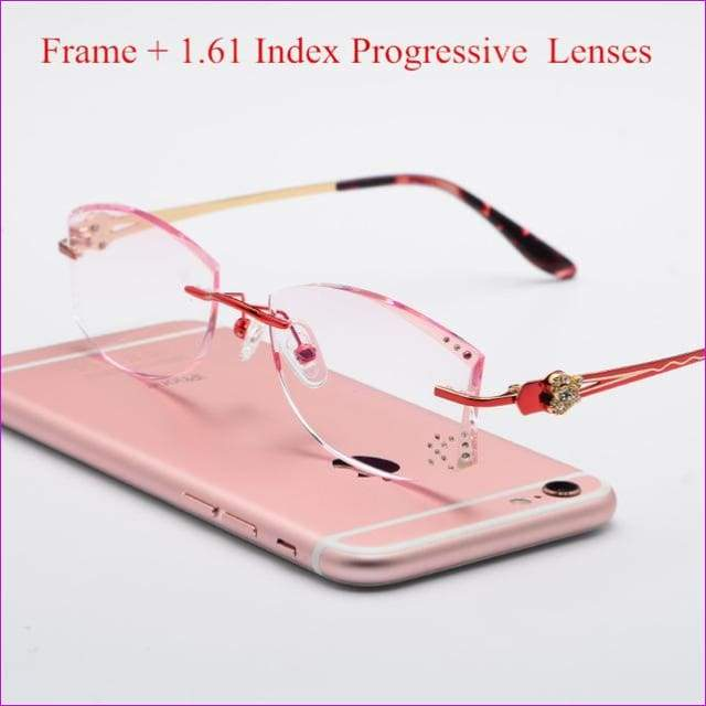 Tinted Colorful Lenses Woman Designed Rimless Prescription Glasses Reading Myopia Use MR-8 Crystal Eyeglasses - Red Progressive - Reading