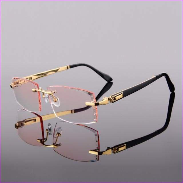 Titanium Eyeglasses Men Rimless Prescription Reading Myopia Photochromic Crystal Color Glasses Frameless - Golden 161 Lenses