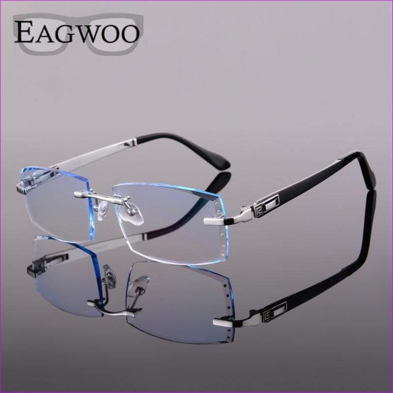 Titanium Eyeglasses Men Rimless Prescription Reading Myopia Photochromic Crystal Color Glasses Frameless