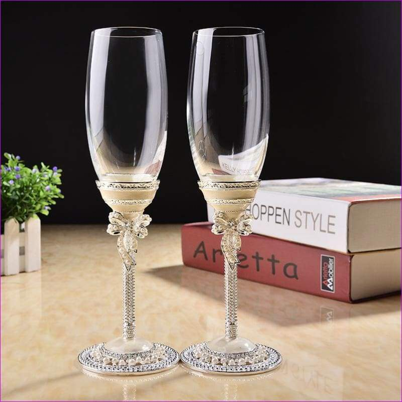 Toasting Goblet wedding glasses champagne red wine bride groom crystal enamel cup party decor - Wedding Stemware