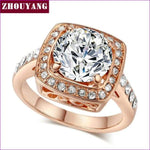 Top Quality ZYR057 Yellow Crystal Rose Gold Color Ring Jewelry Crystals From Austria Full Sizes Wholesale - 10 / RoseGold Clear - Womens