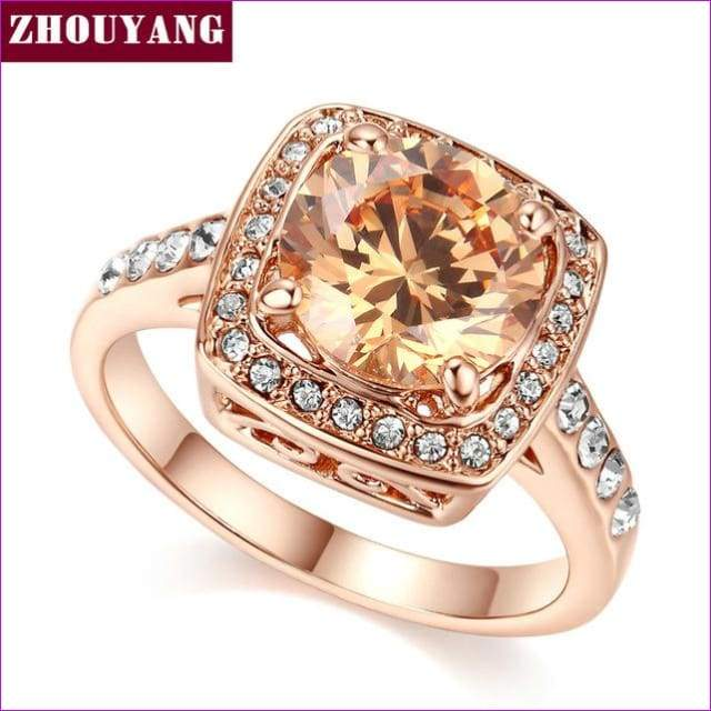 Top Quality ZYR057 Yellow Crystal Rose Gold Color Ring Jewelry Crystals From Austria Full Sizes Wholesale - 10 / RoseGold Orangle - Womens