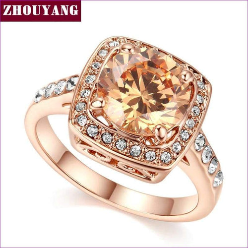 Top Quality ZYR057 Yellow Crystal Rose Gold Color Ring Jewelry Crystals From Austria Full Sizes Wholesale - Womens Rings