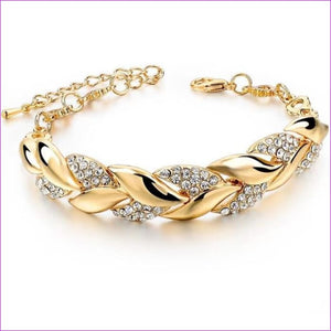 TOUCHEART Braided Gold color Leaf Bracelets & Bangles With Stones Luxury Crystal Bracelets For Women Wedding Jewelry Sbr140296 - Bracelets