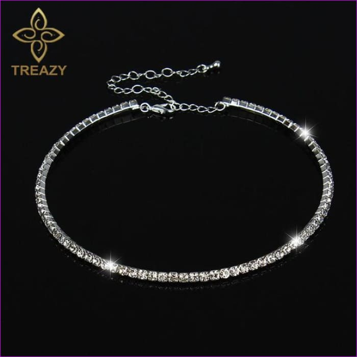 TREAZY Sparkling Silver Color Crystal Collar Chain Choker Necklace Bridal Wedding Party Diamante Rhinestone Choker Jewelry Gifts - 1 Row