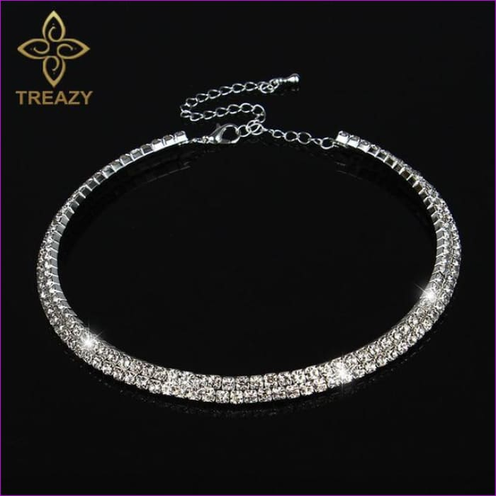 TREAZY Sparkling Silver Color Crystal Collar Chain Choker Necklace Bridal Wedding Party Diamante Rhinestone Choker Jewelry Gifts - 2 Row