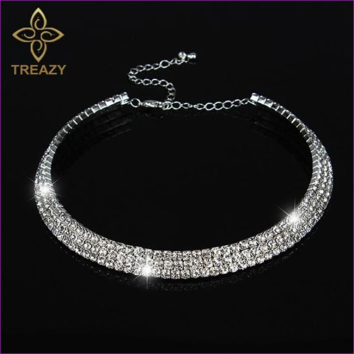 TREAZY Sparkling Silver Color Crystal Collar Chain Choker Necklace Bridal Wedding Party Diamante Rhinestone Choker Jewelry Gifts - 3 Row