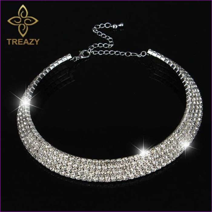 TREAZY Sparkling Silver Color Crystal Collar Chain Choker Necklace Bridal Wedding Party Diamante Rhinestone Choker Jewelry Gifts - 4 Row