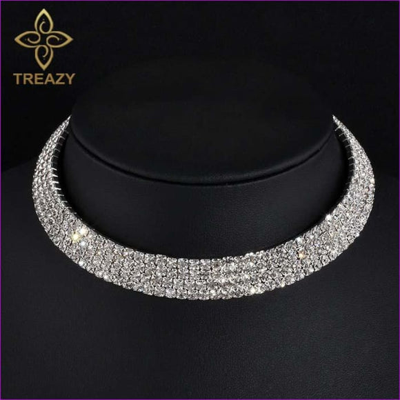 TREAZY Sparkling Silver Color Crystal Collar Chain Choker Necklace Bridal Wedding Party Diamante Rhinestone Choker Jewelry Gifts - Chockers
