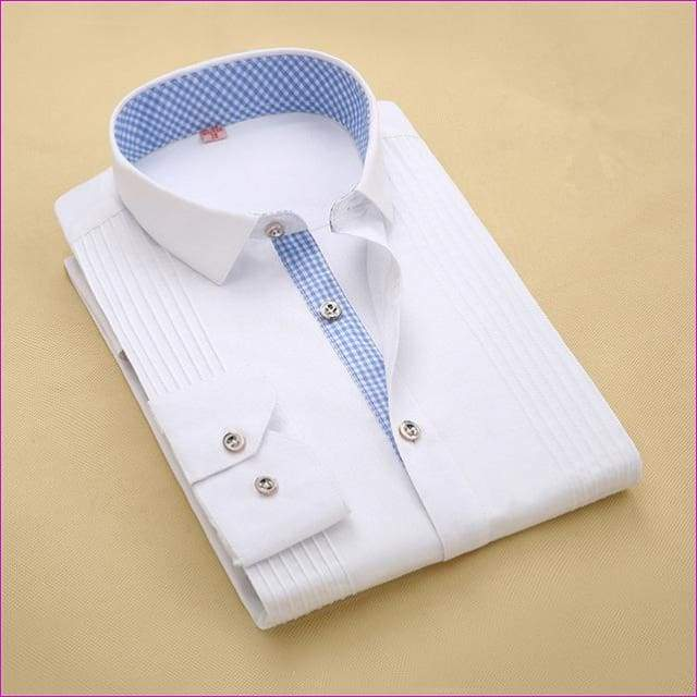 Tuxedo Shirt S-4XL Men Dress Shirts High Quality Male Long Sleeve Three Dimensional - 1 / Asian Size S - Tuxedo Shirts