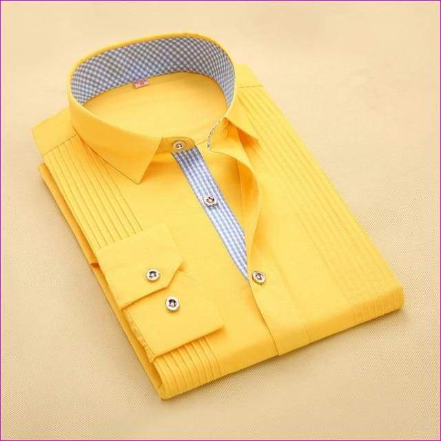 Tuxedo Shirt S-4XL Men Dress Shirts High Quality Male Long Sleeve Three Dimensional - 3 / Asian Size S - Tuxedo Shirts