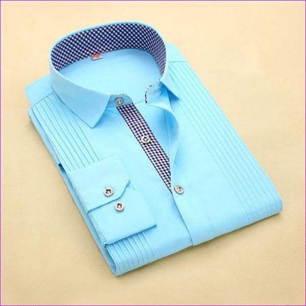 Tuxedo Shirt S-4XL Men Dress Shirts High Quality Male Long Sleeve Three Dimensional - 5 / Asian Size S - Tuxedo Shirts