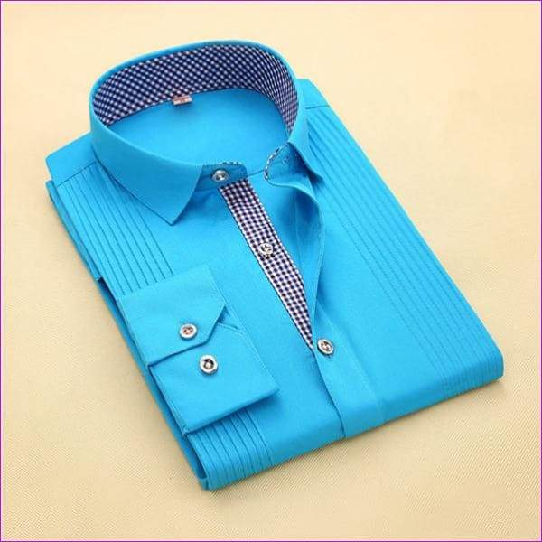 Tuxedo Shirt S-4XL Men Dress Shirts High Quality Male Long Sleeve Three Dimensional - 6 / Asian Size S - Tuxedo Shirts