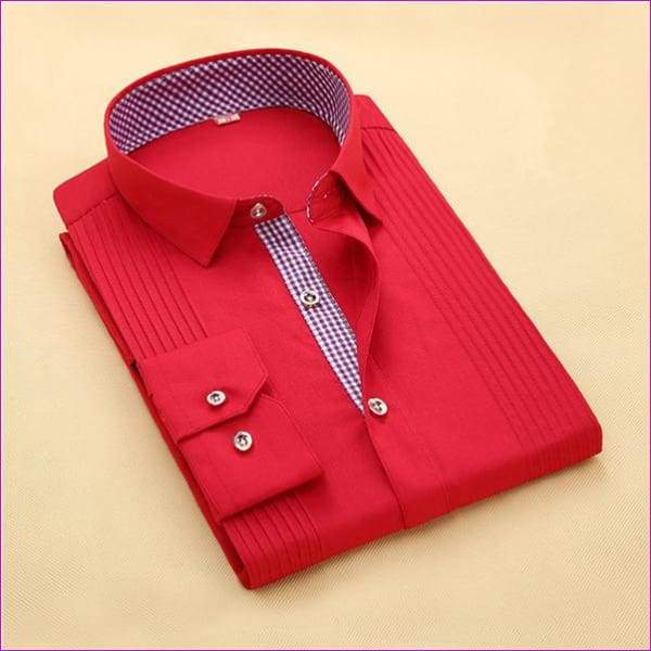 Tuxedo Shirt S-4XL Men Dress Shirts High Quality Male Long Sleeve Three Dimensional - 7 / Asian Size S - Tuxedo Shirts