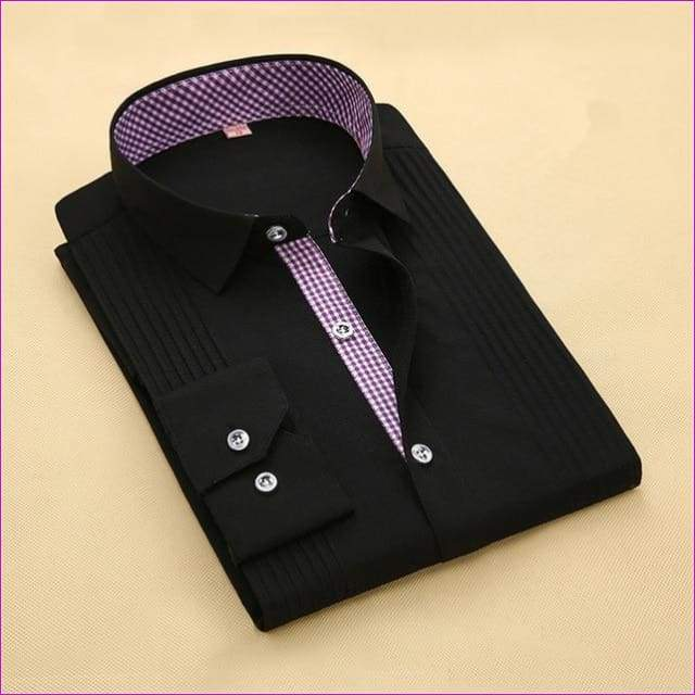 Tuxedo Shirt S-4XL Men Dress Shirts High Quality Male Long Sleeve Three Dimensional - 8 / Asian Size S - Tuxedo Shirts