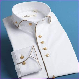 Tuxedo Shirt Styles 100% Cotton Shirt White French slim Fit Shirts - Tuxedo Shirts