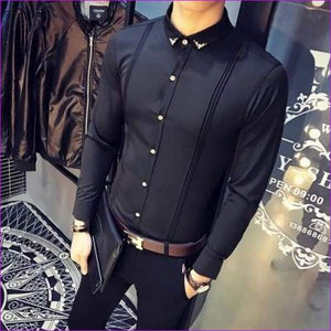 Tuxedo Shirts Long Sleeve Slim Fit Business Casual Shirt Silk Fashion Solid Party Shirts - Black / S - Tuxedo Shirts