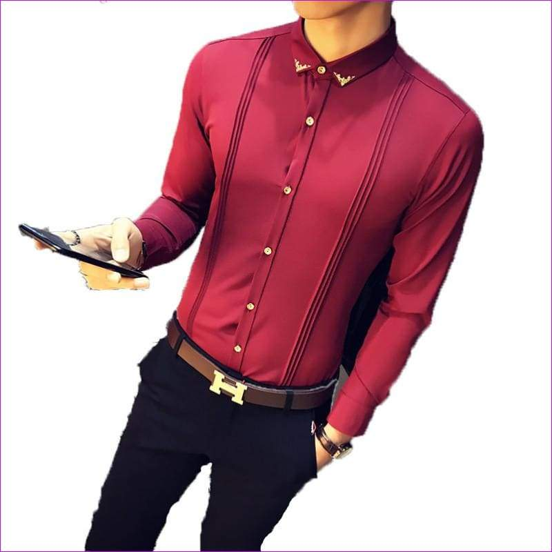 Tuxedo Shirts Long Sleeve Slim Fit Business Casual Shirt Silk Fashion Solid Party Shirts - Tuxedo Shirts