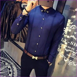 Tuxedo Shirts Long Sleeve Slim Fit Business Casual Shirt Silk Fashion Solid Party Shirts - Dark Blue / S - Tuxedo Shirts