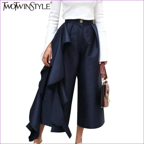 TWOTWINSTYLE Ruffle Trousers for Women High Waist Wide Leg Pants Female Casual Palazzo Bottoms Large Sizes Clothes Korean Autumn - Bottoms