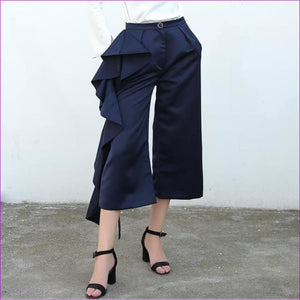 TWOTWINSTYLE Ruffle Trousers for Women High Waist Wide Leg Pants Female Casual Palazzo Bottoms Large Sizes Clothes Korean Autumn - NAVY / L