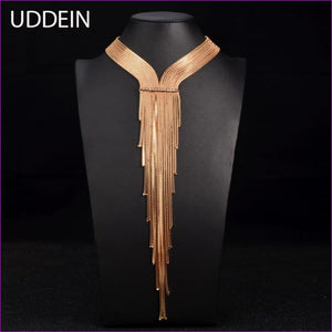 UDDEIN Vintage Maxi Long Necklace New Choker Necklace Women Party Jewelry Gift Crystal Tassel Pendant Statement Choker Collares - Chockers