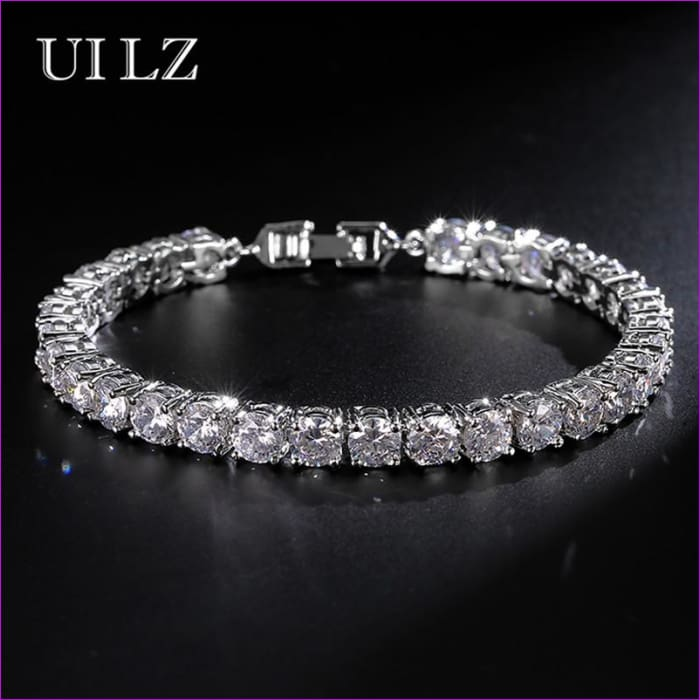 UILZ Fashion Rome Charm Jewelry High Quality Round Cut 0.5 carat AAA Cubic Zircon Tennis Bracelets For Women/Men Party JMBP051 - Bracelets