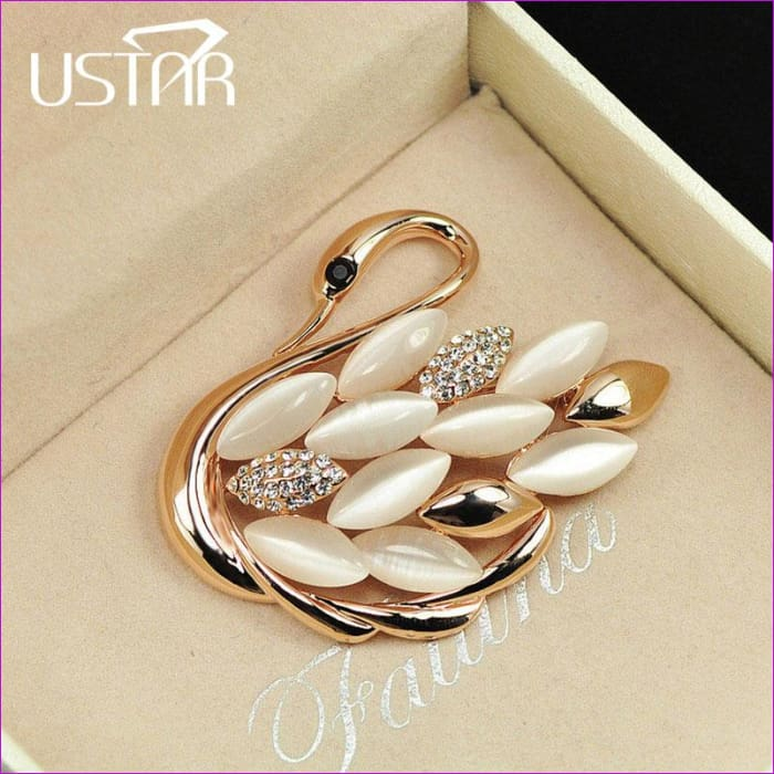USTAR Lovely Swan brooches for women pins gold color animal rhinestone cameo brooch lapel broche christmas gifts top quality S8 - Brooch