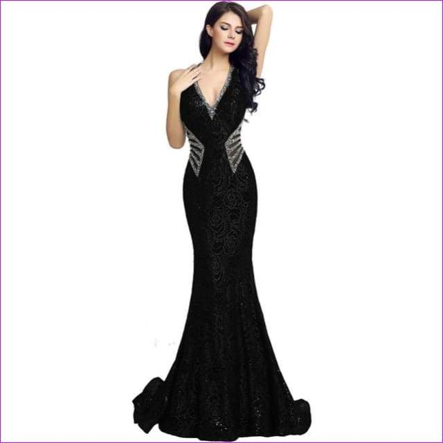 V Neck Long Mermaid Formal Evening Dresses Sheath Bodice Lace Crystal Beading Prom Gown Robe - Black / 2 / China - Evening Dresses