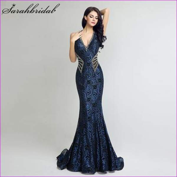 V Neck Long Mermaid Formal Evening Dresses Sheath Bodice Lace Crystal Beading Prom Gown Robe - Navy Blue / 2 / China - Evening Dresses