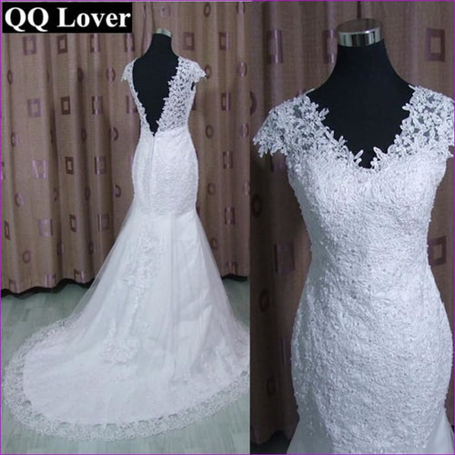 V-Neck Short Sleeve Backless Lace Wedding Gown Bride Dress - Bridal Dresses