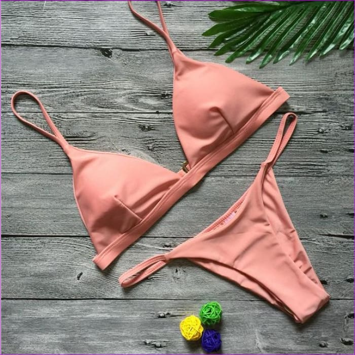 Vertvie Solid Women Sexy Swimsuits Strapless 2 Piece Beach Swimming Suits 2018 Brazilian Biquini Push Up Bikini Sets Female New - pink / S -