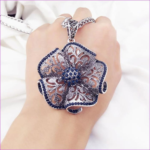 Vintage Flower Long Pendant Necklace Women New Fashion Jewelry Wholesale Sweater Necklaces Christmas Gifts - Pendants Pendants