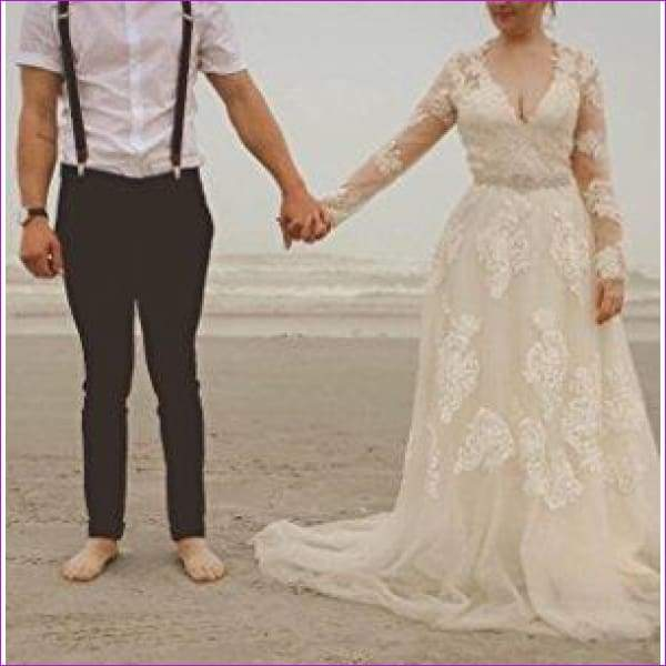 Vintage Lace Boho Wedding Dress Cap Sleeves Blush Lace Wedding Dresses - Bridal Dresses