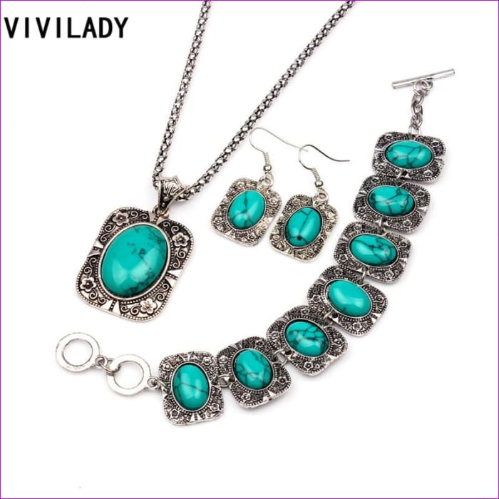 VIVILADY Vintage Silver Color Jewelry Sets Women Natural Stone Necklace Bracelet Earrings Bridal Wedding Party Christmas Gift - Jewelry Sets