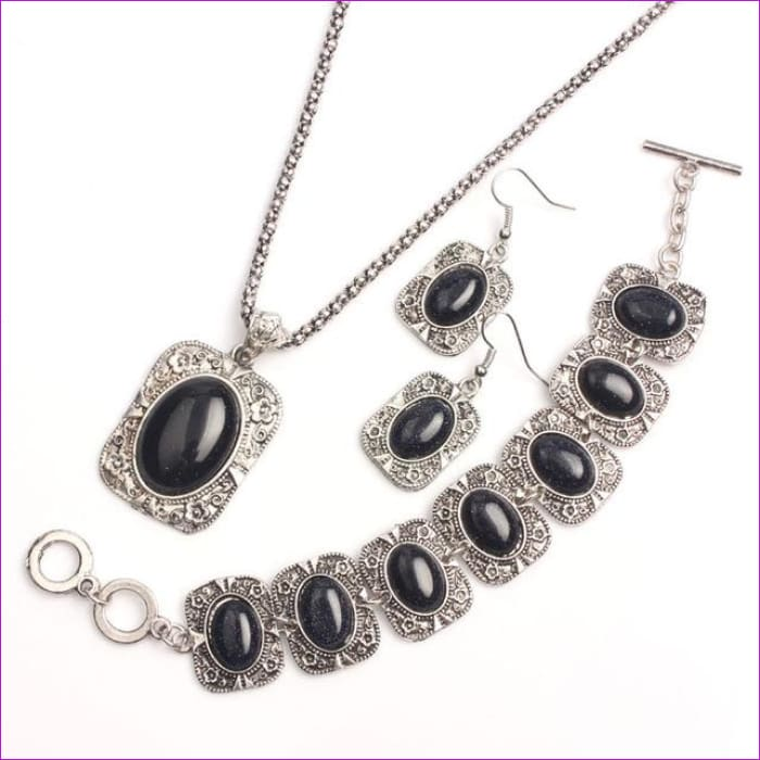 VIVILADY Vintage Silver Color Jewelry Sets Women Natural Stone Necklace Bracelet Earrings Bridal Wedding Party Christmas Gift - MN463S -