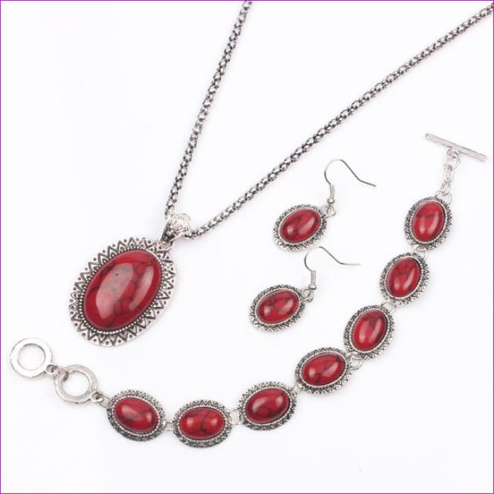 VIVILADY Vintage Silver Color Jewelry Sets Women Natural Stone Necklace Bracelet Earrings Bridal Wedding Party Christmas Gift - MN466S -