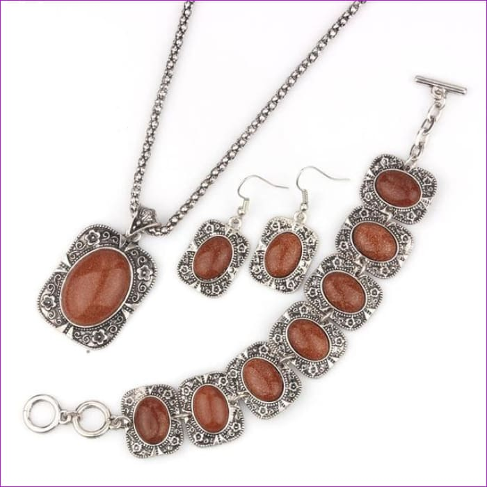 VIVILADY Vintage Silver Color Jewelry Sets Women Natural Stone Necklace Bracelet Earrings Bridal Wedding Party Christmas Gift - MN496S -