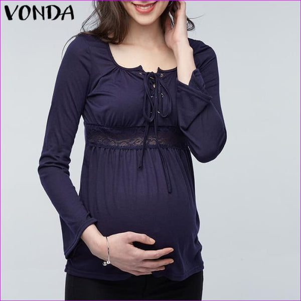 VONDA 2018 Spring Pregnant Women Long Sleeve Tops Sexy Pregnancy Lace Splice Blouses Shirts Casual Maternity Clothings Plus Size - Maternity