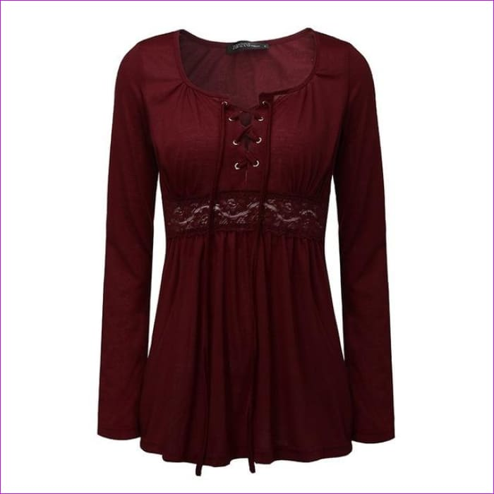 VONDA 2018 Spring Pregnant Women Long Sleeve Tops Sexy Pregnancy Lace Splice Blouses Shirts Casual Maternity Clothings Plus Size - Wine Red