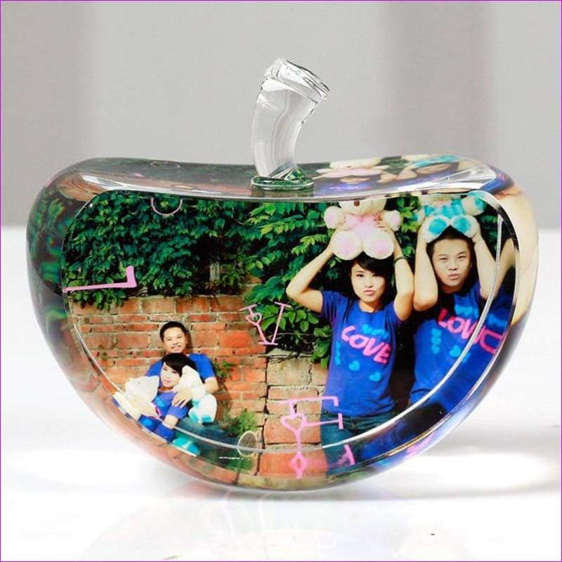 Wedding Family Photo Album For Gifts 60mm Apple Shaped Crystal Photo Frame Customized Glass Picture Frame - Wedding Picture Frames