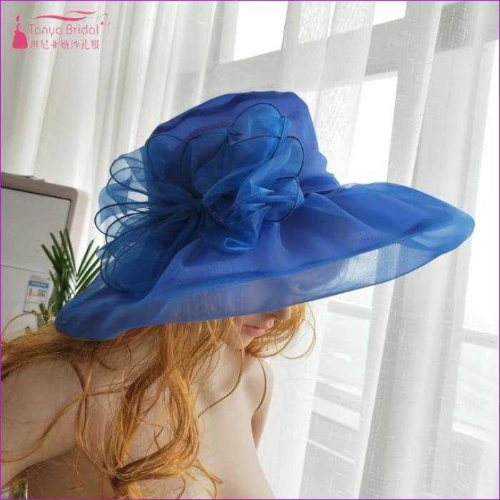 Wedding hats for brides diameter 31 cm Evening Hats formal hair-accessories - Blue - Bridal Hats Bridal Hats cf-color-black cf-color-blue