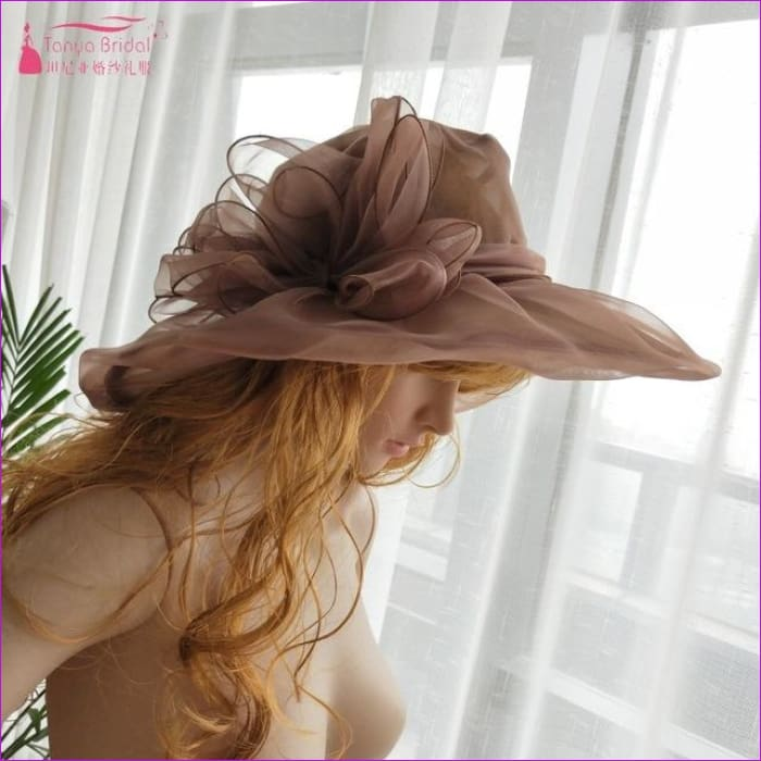 Wedding hats for brides diameter 31 cm Evening Hats formal hair-accessories - Brown - Bridal Hats Bridal Hats cf-color-black cf-color-blue