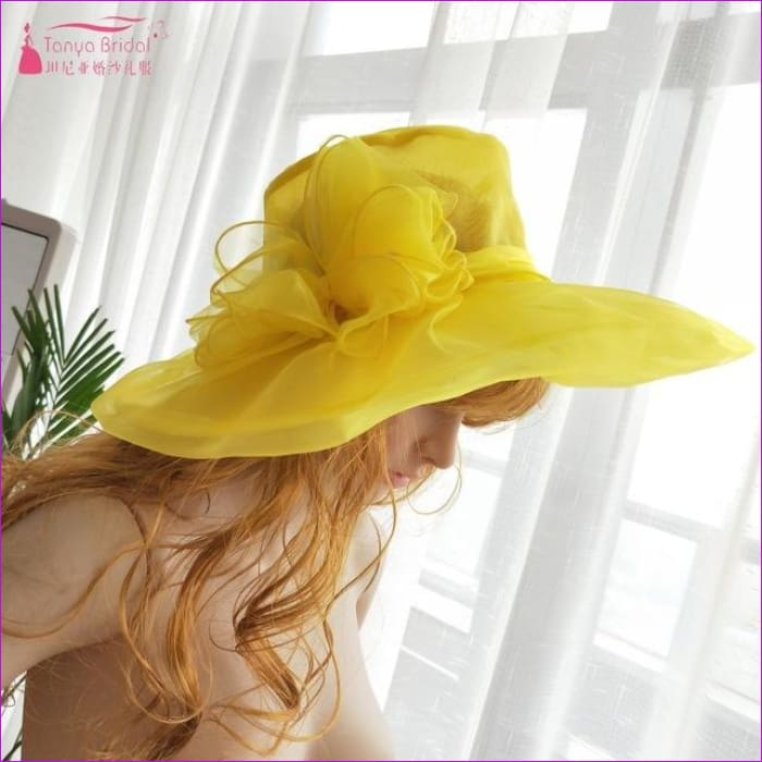 Wedding hats for brides diameter 31 cm Evening Hats formal hair-accessories - Yellow - Bridal Hats Bridal Hats cf-color-black cf-color-blue