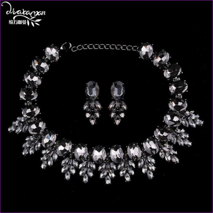 Wedding Party Jewelry Sets Women Indian Bridal Necklace & Earrings - black - Jewelry Sets Jewelry Sets
