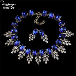Wedding Party Jewelry Sets Women Indian Bridal Necklace & Earrings - Blue - Jewelry Sets Jewelry Sets