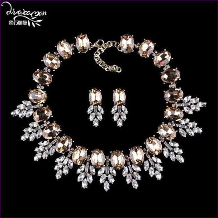 Wedding Party Jewelry Sets Women Indian Bridal Necklace & Earrings - champagne - Jewelry Sets Jewelry Sets