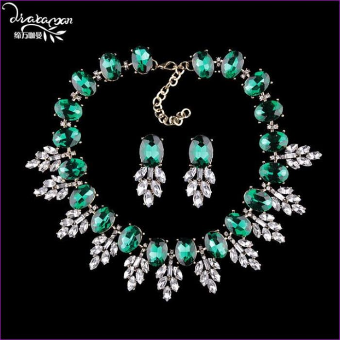 Wedding Party Jewelry Sets Women Indian Bridal Necklace & Earrings - green - Jewelry Sets Jewelry Sets