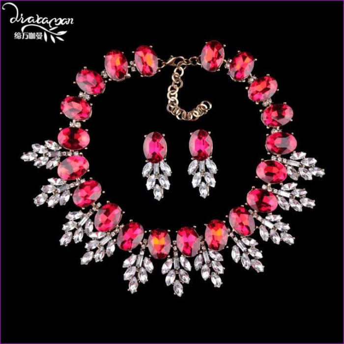 Wedding Party Jewelry Sets Women Indian Bridal Necklace & Earrings - red - Jewelry Sets Jewelry Sets